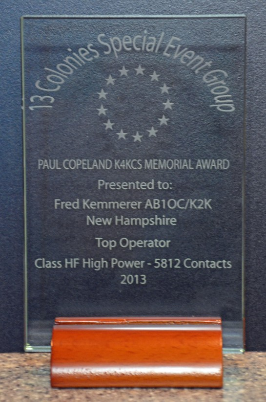 2013 Thirteen Colonies Top Operator Award