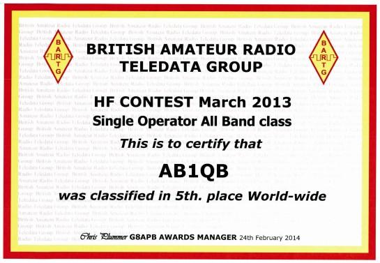 AB1QB 2013 BARTG RTTY Certificate