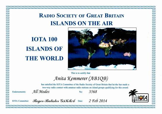 Anita's IOTA 100 Award