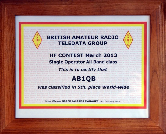 Anita's Best Contest Result To Date – 2013 BARTG RTTY Contest