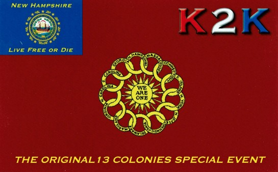 13 Colonies Special Event QSL Card For K2K New Hampshire