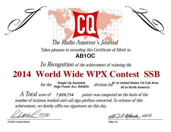 2014 CQ WPX SSB Results