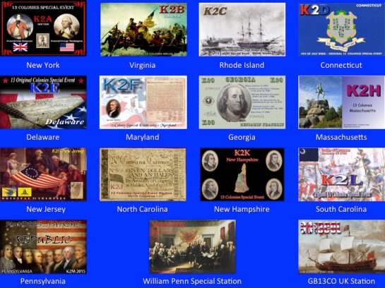 2015 Thirteen Colonies QSL Cards